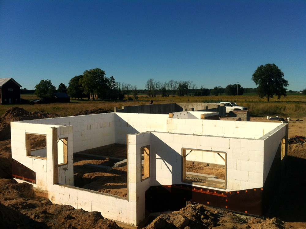 Foundation of ICF Home Constructed with Insulated Concrete Forms - Turtle Wall of Michigan